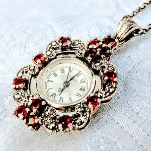 Vintage Sterling Silver and Garnet Watch Necklace